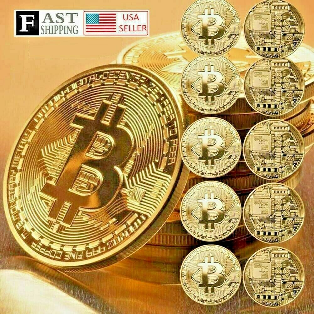 10 Pcs Gold Bitcoin Commemorative Collectors Coin Bit Coin is Gold Plated Coin 1