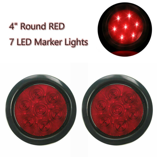 Red 2pcs 4 U0026quot  Inch 7 Led Marker Lights Round Car Truck Stop