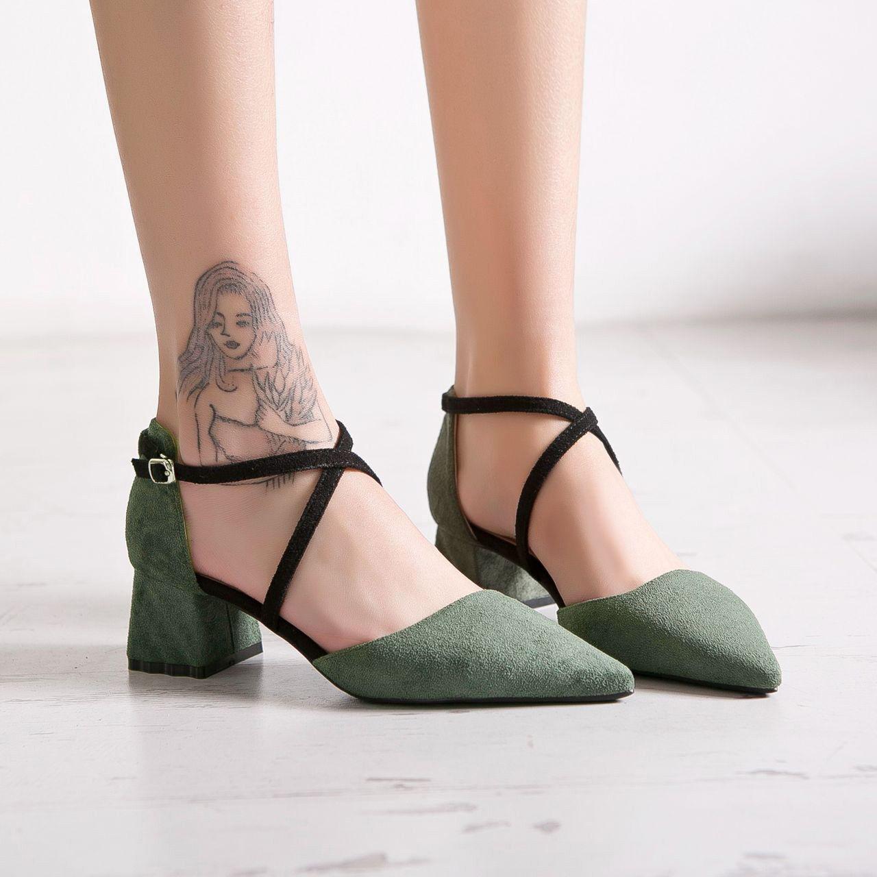 Sandaleei 5 cm eleganti verde nero tacco quadrato Sandaleei simil pelle 1100