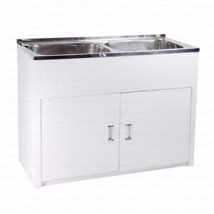 Details about High Grade Stainless Steel Twin Laundry Tub 45L+45L