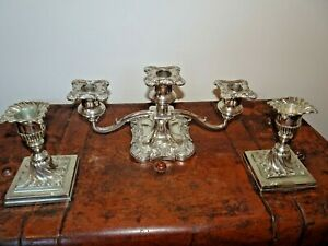 Antique-Victorian-Walker-amp-Hall-Silver-Plated-Candlesticks-amp-3-Armed-Candelabra