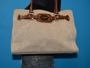 Image Is Loading Michael Kors Hamilton Woven Fabric Brown Leather Large