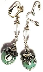 Long-Silver-Green-Clip-On-Earrings-Glass-Bead-Tibetan-Antique-Vintage-Style