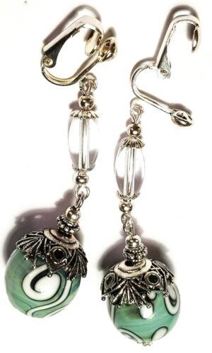 Long Silver Green Clip-On Earrings Glass Bead Tibetan Antique Vintage Style