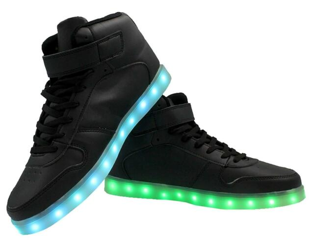 5b0cd8ca1415c Galaxy LED Shoes Light Up USB Charging High Top Lace & Strap Kids  Sneakers(Black