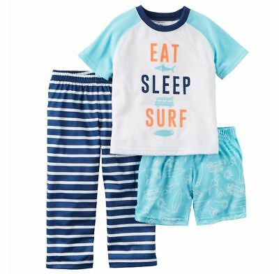 New Pajamas Boy/'s Toddler Eat Sleep Surf 3 Piece 2T 3T 4T 5T Pajama Set