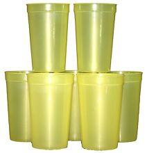 12 -20oz Translucent Yellow Plastic Drinking Glasses Cups Mfg USA Lead Free