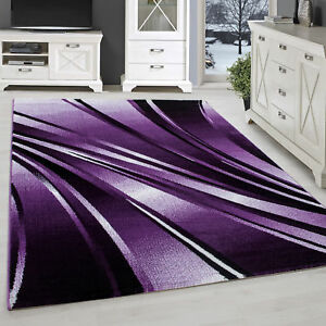 Tapis Moderne Design Salon à Poils Ras Abstrait Vagues Motif Violet ...