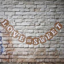 Romentic Kraft Paper Love Is Sweet Wedding Banner Bunting Table Rustic Vintage