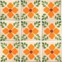 Set 000) With Nine Mexican Tiles Ceramic Clay Handcrafted Mexico