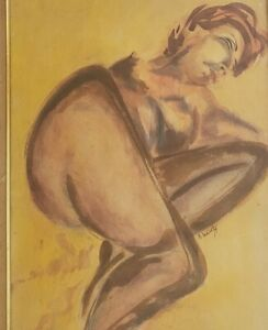 Vintage Signed S. Schwartz Woman in Nude Watercolor Painting Framed Art