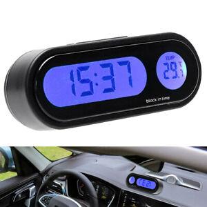 Auto-Coche-Digital-LCD-Electronico-Time-Clock-Termometro-Reloj-Con-Luz-De-Fondo-Negro