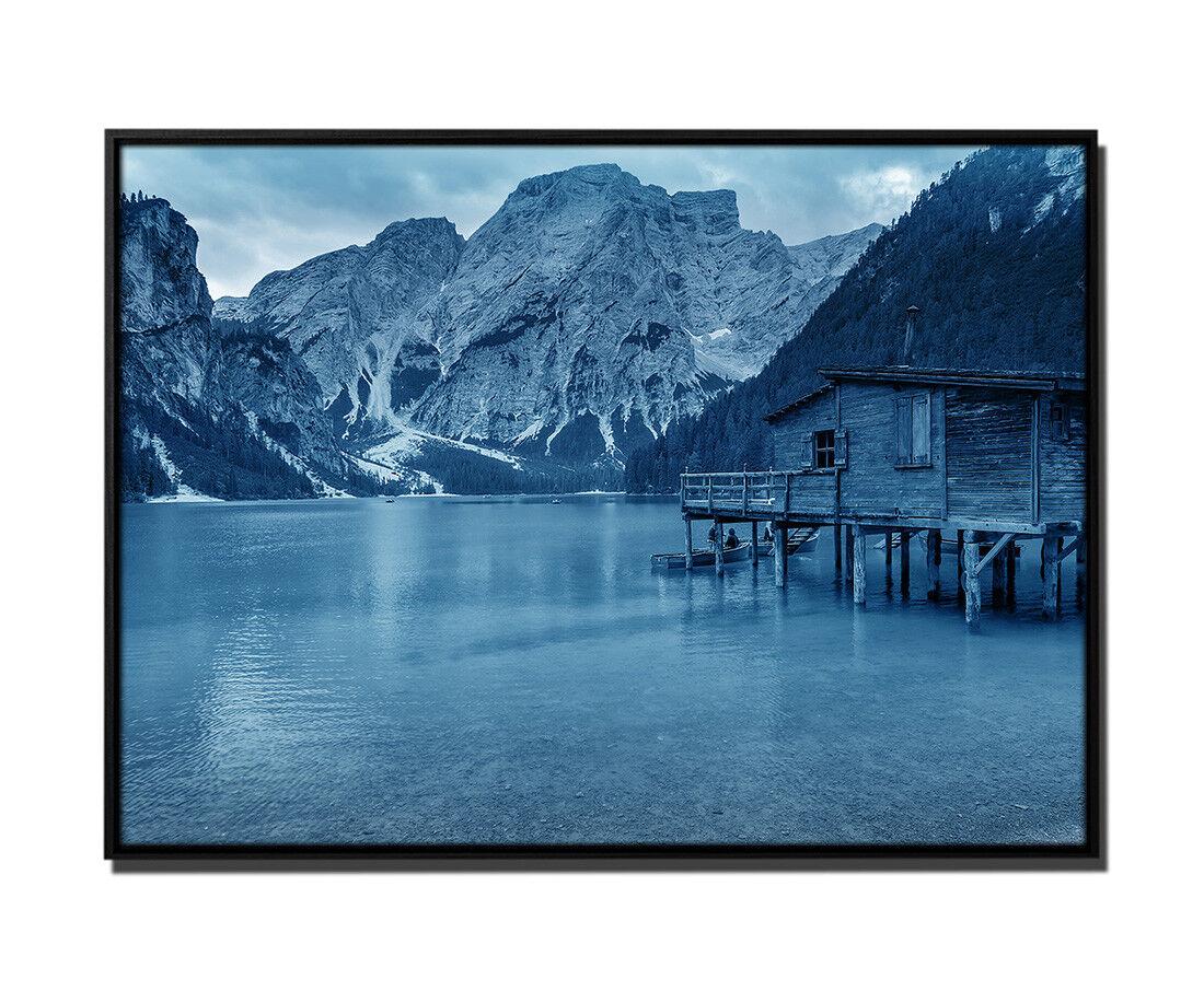 105x75cm tela petrolio casa al Pragser Wildsee Italia