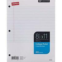 Staples College Ruled Filler Paper, 8 1/2 X 11, 400 Sheets, New, Free Shipping