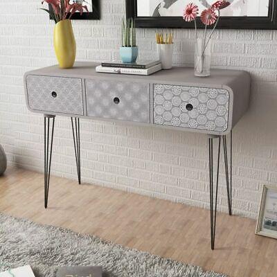 vidaXL Gabinete auxiliar / Mesa consola con tres cajones color gris