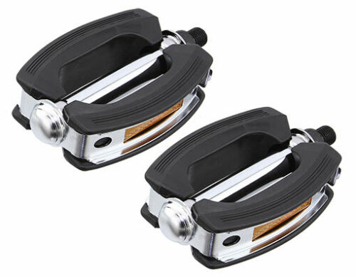 "New Bicycle Classic Rubber Rubber Pedals VP-813 1//2/"" or 9//16/""  Black//Chrome"