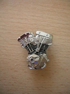 Pin-Anstecker-HD-Harley-Davidson-Shovelhead-Motor-Engine-silberfarben-Art-1123