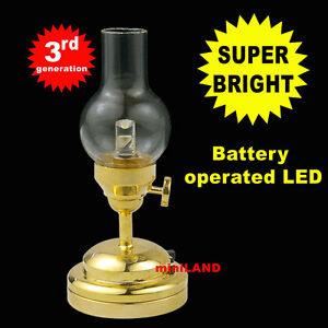 Brass Hanging Oil SUPER bright battery LED LAMP Dollhouse miniature light on//of
