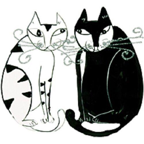 Retro Cats Black & White HEAT PRESS TRANSFER  for T Shirt Sweatshirt Fabric 275b