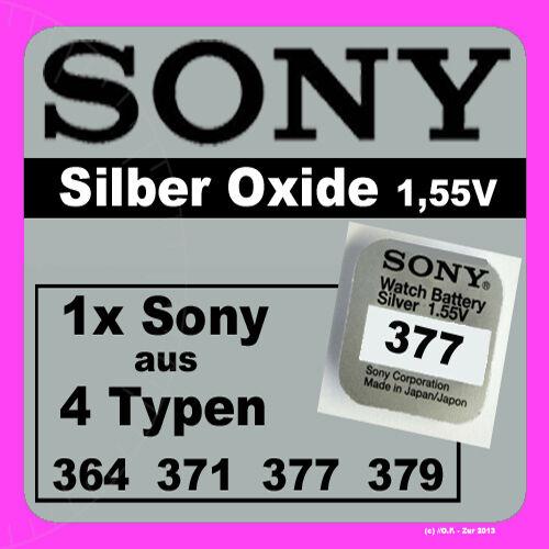 1x Sony Uhren Batterie Knopfzelle 1,55V aus 4 Typen  364 371 377 379 Neu Blister