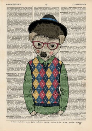 Hedgehog boy in Trilby Dictionary Wall Art Print Animal In Clothes Vintage