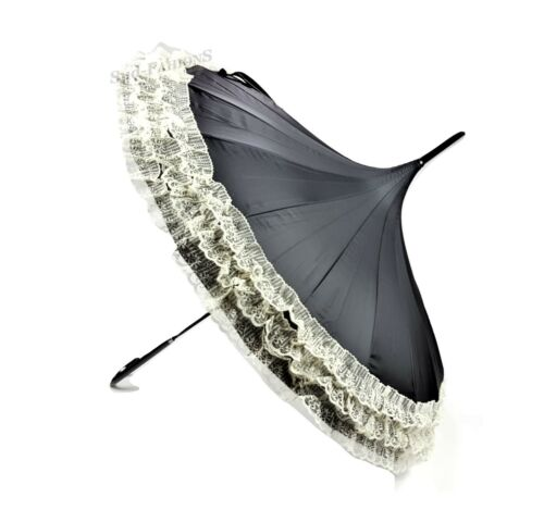 Pagoda Stick Umbrella Classic Boutique Bridal Wedding Pattern with Bloom Lace