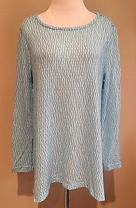 Women-039-s-Blue-Long-Sleeve-Chelsea-amp-Theodore-Textured-Top-Sweater-Large