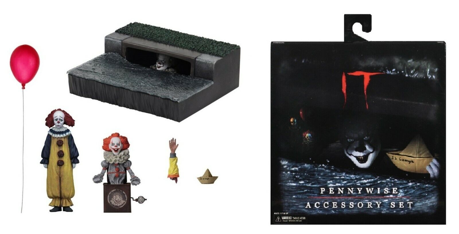 Neca It es 2017 Stephen King Pennywise Zubehör Satz Grippe-Sou Clown Tanzend