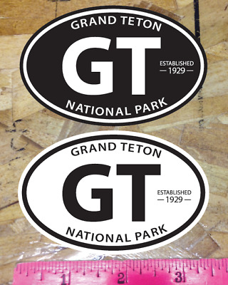 GT Grand Teton National Park est 1929 sticker decal Oval Black /& White 2 for 1