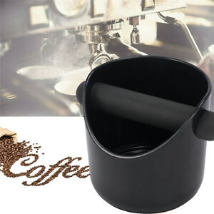 COFFEE KNOCK BOX Espresso Grinds Tamper Waste Bin with Wood Holder Set