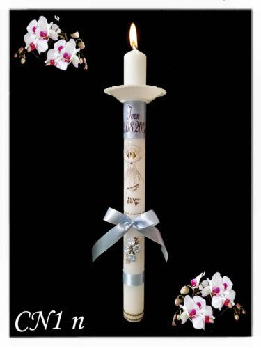 Exklusive Taufkerze Name und Datum Kommunionkerze Mädchen Junge Kerzenschleife