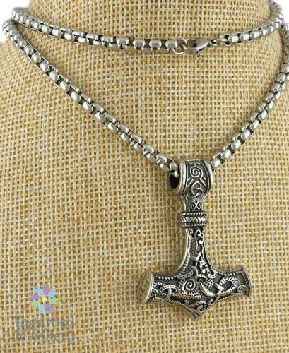 Viking Thor Hammer Mjolnir Robusto Collar De Plata Con Colgante De Acero Inoxidable