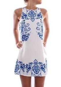 Robe-retro-blanche-motifs-bleus-36-38-40-plage-ete-sexy-mini-courte-vintage