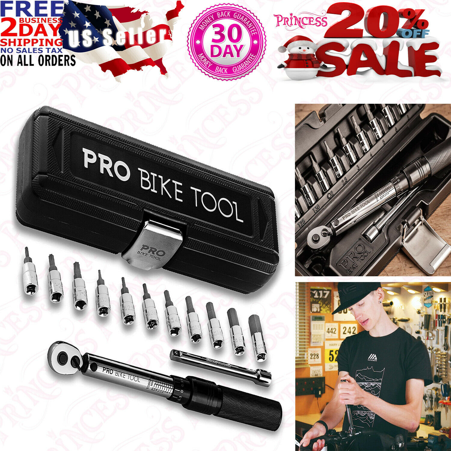 Bicycle 2 to 20 Nm PRO BIKE TOOL 1//4 Inch Drive Click Torque Wrench Set