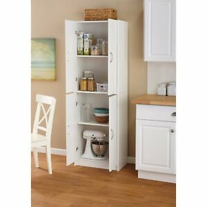 Details About Tall Storage Cabinet Kitchen Cupboard Pantry Food Organizer Shelf Wood