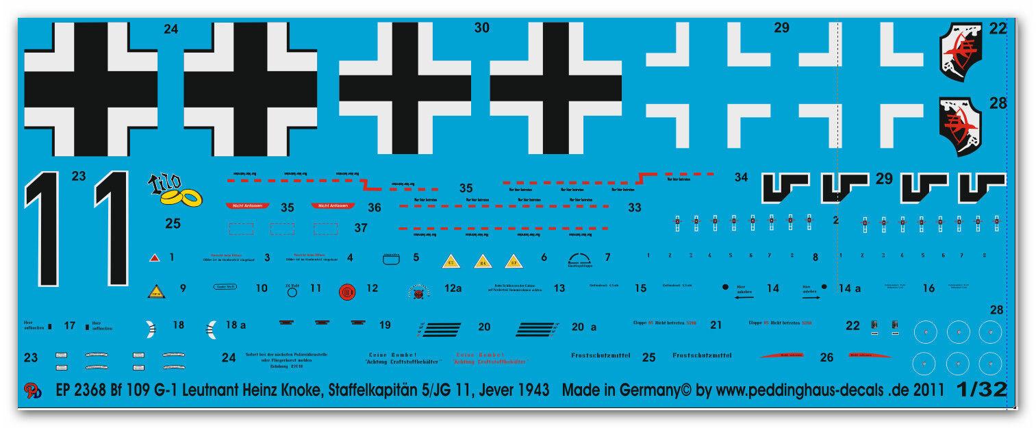 Peddinghaus 2368 1 32 32 32 BF 109 G-1 TENENTE Heinz Knoke COMANDANTE SQUADRONE 5   JG a82c5a