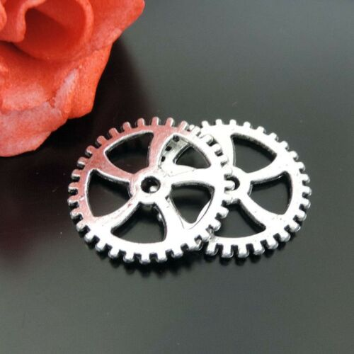 39363 Antiqued Silver Alloy Wheel Gear Charms Pendant Size 18*18*1mm 70PCS