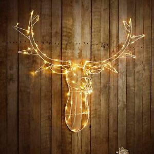Details about 88cm LIGHT UP REINDEER STAG HEAD WALL MOUNT 80 LED XMAS DECORATION INDOOR LIGHT
