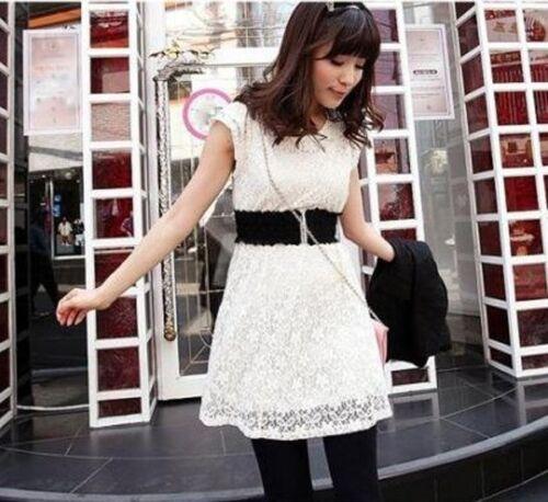 Women Fashion Lace Clasp Buckle Elastic Stretch Corset Waist Belt Black//White
