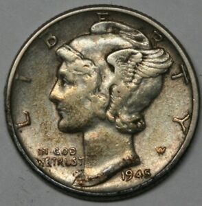 1945-Mercury-Dime-in-Extra-Fine-XF-Condition-US-90-Silver-Coin