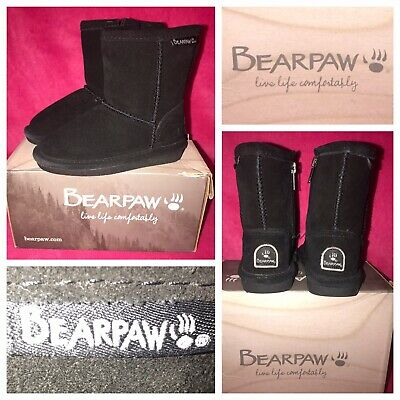 BEARPAW Emma Black 6.5 Inch Little Kid Big Kid Black Suede Fur Lined Boot