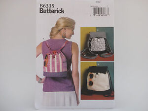 Butterick B6335 6335, Drawstring BEACH Backpacks, Purse, Tote, 3 Styles