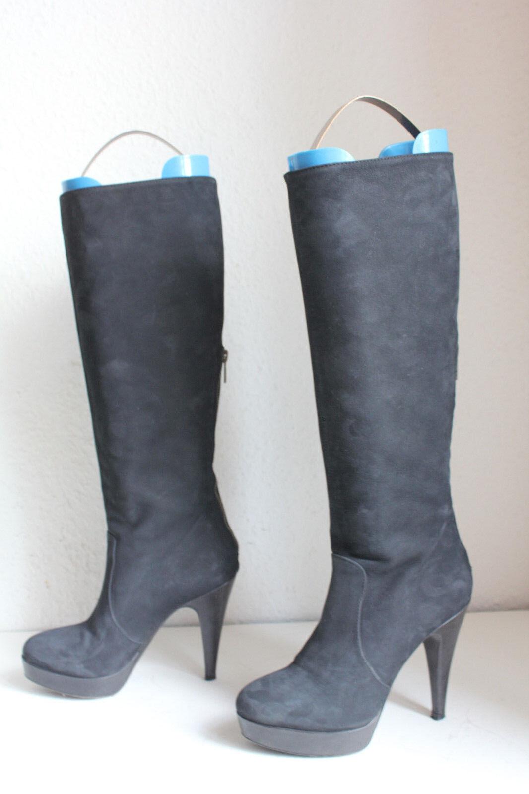 Fiori Nubukleder Francesi Luxus Elegante High Stiefel Stiefel Nubukleder Fiori Schwarz Eu:36 5e7405