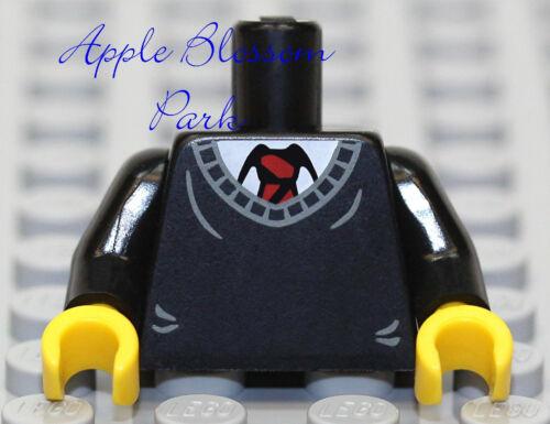 NEW Lego Boy Minifig BLACK TORSO w//V-Neck Sweater /& White Shirt Red Tie Pattern