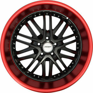 4-GWG-Wheels-18-inch-Black-Red-Lip-AMAYA-Rims-fits-BMW-3-SERIES-E36-5-LUGS-2000