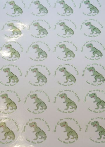 Personalised Dinosaur T Rex Birthday Party round stickers labels party sheet