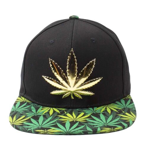 Marijuana Hat Snapback Weed Gold Metal Leaf Snapback Cap Cannabis 420 Headwear