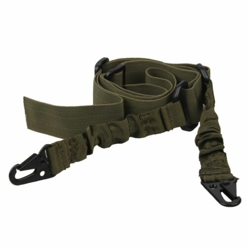 Rifle Gun Tactical 2 Dual-Point Adjustable Bungee Hook Sling Strap Out Hunting