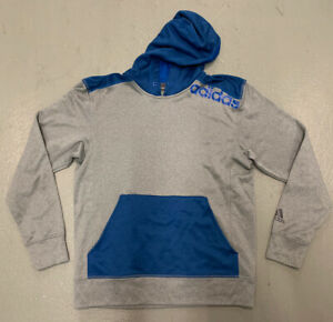Adidas-Ultimate-Hoodie-Colorblock-Grey-Blue-Lightweight-Pullover-Men-Size-Medium
