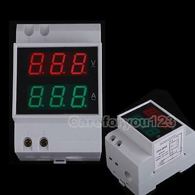 Digital 0-100A LED Dual Display Din-Rail AC Ammeter Voltmeter Voltage AC80-300V